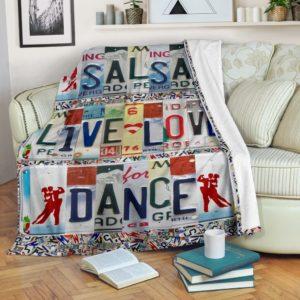 SALSA LIVE LOVE DANCE LICENSE PLATES BLANKET@_proudteaching_salsau84t88@premium-blanket Salsa Live Love Dance License Plates Blanket Fleece Blanket, Personalized Gifts, Custom Blanket 598848