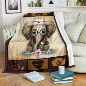 Nurse Elephant@_proudteaching_elephant23246@premium-blanket Nurse Elephant Fleece Blanket, Personalized Gifts, Custom Blanket 598822