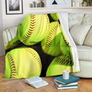 Softball Ball Blanket@_proudteaching_fdhfg@premium-blanket Softball Ball Blanket Fleece Blanket, Personalized Gifts, Custom Blanket 598772