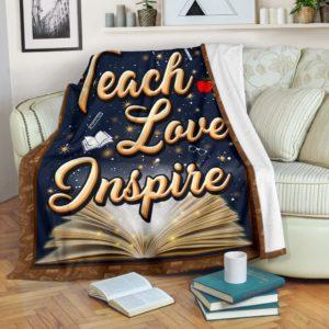 TEACHER- TEACH LOVE INSPIRE PRE BLANKET@_proudteaching_teach7y880@premium-blanket Teacher- Teach Love Inspire Pre Blanket Fleece Blanket, Personalized Gifts, Custom Blanket 598746