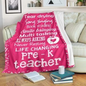 SHOE TYING TEAR DRYING SONG SINGING PRE - K TEACHER BLANKET@_proudteaching_PREKDG545@premium-blanket Shoe Tying Tear Drying Song Singing Pre - K Teacher Blanket Fleece Blanket, Personalized Gifts, Custom Blanket 598540