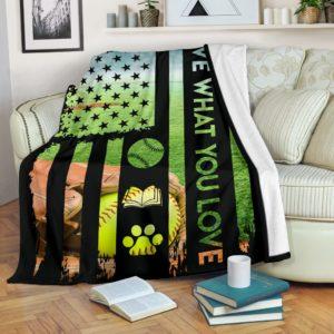 Softball - Live What You Love Blanket@_proudteaching_ssegdg@premium-blanket Softball - Live What You Love Blanket Fleece Blanket, Personalized Gifts, Custom Blanket 598514