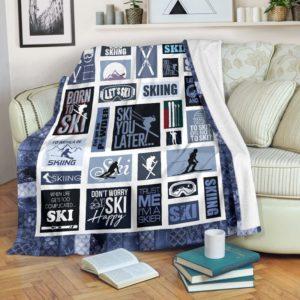 SKIING BLANKET@_proudteaching_skiingaghdf@premium-blanket Skiing Blanket Fleece Blanket, Personalized Gifts, Custom Blanket 597999