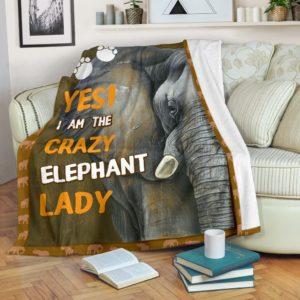 YES I AM THE CRAZY ELEPHANT LADY BLANKET@_proudteaching_craele98948@premium-blanket Yes I Am The Crazy Elephant Lady Blanket Fleece Blanket, Personalized Gifts, Custom Blanket 597908
