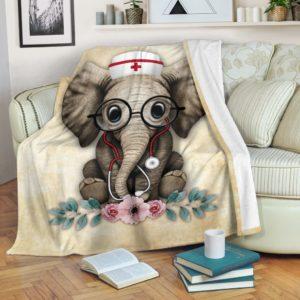 Nurse Elephant@_proudteaching_nurse1239elephant@premium-blanket Nurse Elephant Fleece Blanket, Personalized Gifts, Custom Blanket 597714