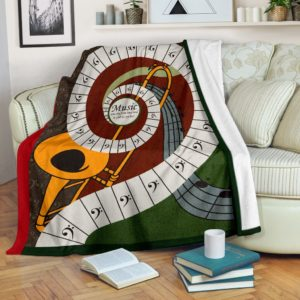 Music was my first love - Trombone Blanket@_proudteaching_Trombone56sdfsd@premium-blanket Music Was My First Love - Trombone Blanket Fleece Blanket, Personalized Gifts, Custom Blanket 597688