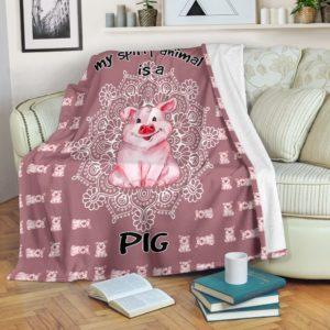 Pig - My Spirit animal is a Pig Blanket@_proudteaching_ghg342@premium-blanket Pig - My Spirit Animal Is A Pig Blanket Fleece Blanket, Personalized Gifts, Custom Blanket 597511