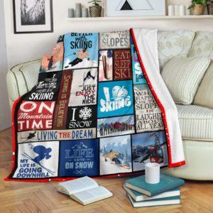 SKIING BLANKET@_proudteaching_skilove@premium-blanket Skiing Blanket Fleece Blanket, Personalized Gifts, Custom Blanket 597451