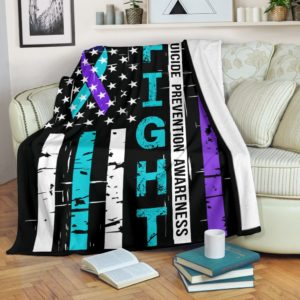 Suicide Prevention Awareness - Fight Flag Blanket@_proudteaching_suipre545@premium-blanket Suicide Prevention Awareness - Fight Flag Blanket Fleece Blanket, Personalized Gifts, Custom Blanket 597397