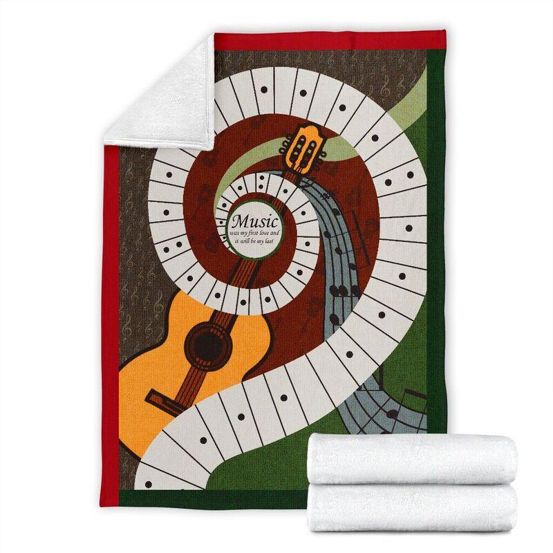 Music was my first love - Guitar Blanket@_proudteaching_Guitar565sf@premium-blanket Music Was My First Love - Guitar Blanket Fleece Blanket, Personalized Gifts, Custom Blanket 597378