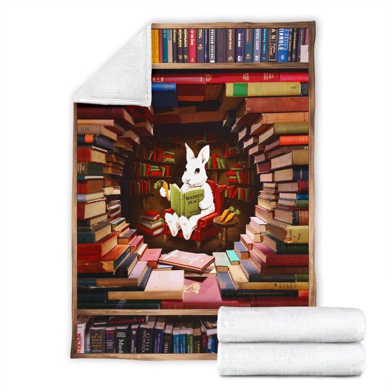 rabbit reading book Blanket@_proudteaching_la7367rab7346@premium-blanket Rabbit Reading Book Blanket Fleece Blanket, Personalized Gifts, Custom Blanket 597352