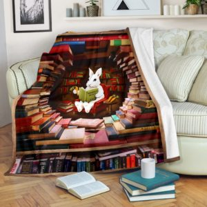 rabbit reading book Blanket@_proudteaching_la7367rab7346@premium-blanket Rabbit Reading Book Blanket Fleece Blanket, Personalized Gifts, Custom Blanket 597345