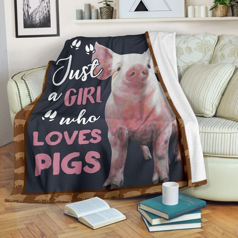 JUST A GIRL WHO LOVES PIGS PRE BLANKET@_animalaholic_jus7483@premium-blanket Just A Girl Who Loves Pigs Pre Blanket Fleece Blanket, Personalized Gifts, Custom Blanket 597182