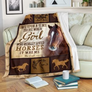 ONCE UPON A TIME THERE WAS A GIRL - HORSES BLANKET@_animalaholic_HORSES2131@premium-blanket Once Upon A Time There Was A Girl - Horses Blanket Fleece Blanket, Personalized Gifts, Custom Blanket 597155
