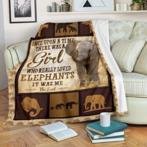 ONCE UPON A TIME THERE WAS A GIRL - ELEPHANTS BLANKET@_animalaholic_ELEPHANTS1452@premium-blanket Once Upon A Time There Was A Girl - Elephants Blanket Fleece Blanket, Personalized Gifts, Custom Blanket 597077