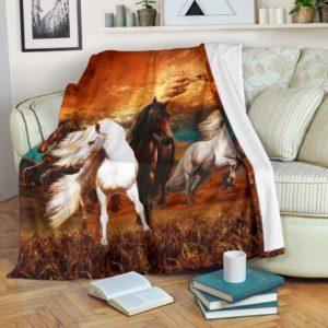 Horse Sunset Background Pre Blanket@_animalaholic_sdsd@premium-blanket Horse Sunset Background Pre Blanket Fleece Blanket, Personalized Gifts, Custom Blanket 597064
