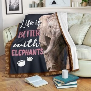 life is better with an elephant PRE BLANKET@_animalaholic_lifev2121v@premium-blanket Life Is Better With An Elephant Pre Blanket Fleece Blanket, Personalized Gifts, Custom Blanket 597034