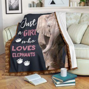 JUST A GIRL WHO LOVES ELEPHANTS PRE BLANKET@_animalaholic_JUf14b52@premium-blanket Just A Girl Who Loves Elephants Pre Blanket Fleece Blanket, Personalized Gifts, Custom Blanket 597021