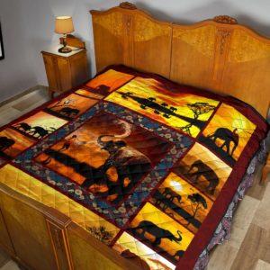 Elephant Sunset Premium Quilt@_animalaholic_ddfg@quilt Elephant Sunset Premium Quilt Fleece Blanket, Personalized Gifts, Custom Blanket 596948