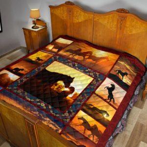Horse Sunset Premium Quilt@_animalaholic_sdfdsf@quilt Horse Sunset Premium Quilt Fleece Blanket, Personalized Gifts, Custom Blanket 596918