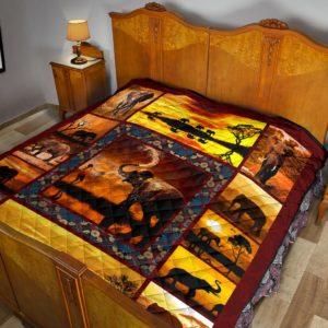 Elephant Sunset Premium Quilt KD@_animalaholic_FG@quilt Elephant Sunset Premium Quilt Kd Fleece Blanket, Personalized Gifts, Custom Blanket 596849