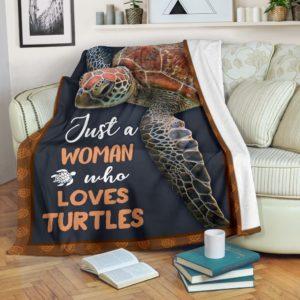 JUST A WOMAN WHO LOVES turtles PRE BLANKET@_animalaholic_JUS5b55@premium-blanket Just A Woman Who Loves Turtles Pre Blanket Fleece Blanket, Personalized Gifts, Custom Blanket 596691