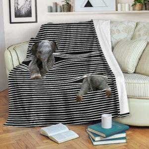 ELEPHANT BLACK WHITE PRE BLANKET@_animallovepro_ELE1V2132V@premium-blanket Elephant Black White Pre Blanket Fleece Blanket, Personalized Gifts, Custom Blanket 596562