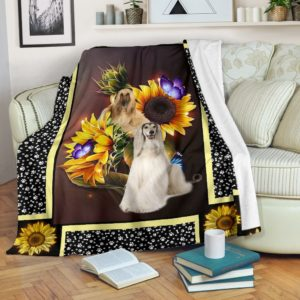 Afghan hound dark sunflower blanket@_shoesnp_dt_10_Afghan_hound_dark_sunflower_blanket@premium-blanket Afghan Hound Dark Sunflower Blanket Fleece Blanket, Personalized Gifts, Custom Blanket 596549