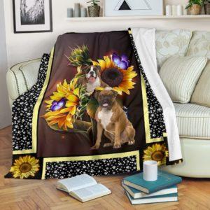 boxer dark sunflower blanket@_shoesnp_dt_10_boxer_dark_sunflower_blanket@premium-blanket Boxer Dark Sunflower Blanket Fleece Blanket, Personalized Gifts, Custom Blanket 596281