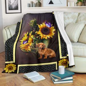 Dachshund dark sunflower blanket@_shoesnp_dt_Dachshund_dark_sunflower_blanket@premium-blanket Dachshund Dark Sunflower Blanket Fleece Blanket, Personalized Gifts, Custom Blanket 596255