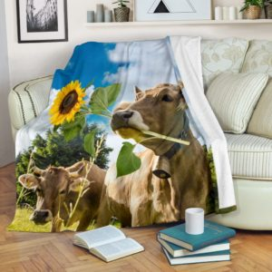 Cow with sunflower blue sky blanket@_shoesnp_dt_Cow_with_sunflower_blue_sky_blanket@premium-blanket Cow With Sunflower Blue Sky Blanket Fleece Blanket, Personalized Gifts, Custom Blanket 596242