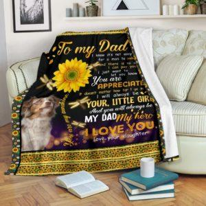 Australian Shepherd Love Dad Blanket@_shoesnp_Mn_Australian_Shepherd_Love_Dad_Blanket@premium-blanket Australian Shepherd Love Dad Blanket Fleece Blanket, Personalized Gifts, Custom Blanket 596138