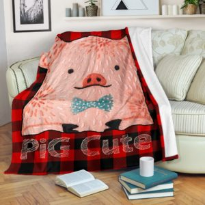 Pig Cute Caro Red Blanket@_animallovepro_asf663@premium-blanket Pig Cute Caro Red Blanket Fleece Blanket, Personalized Gifts, Custom Blanket 595553