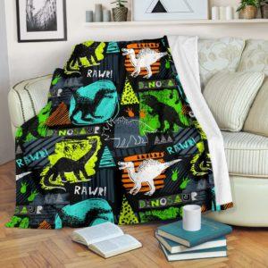 Dinosaurs - Pattern Art Color Blanket@_animallovepro_dgfuh@premium-blanket Dinosaurs - Pattern Art Color Blanket Fleece Blanket, Personalized Gifts, Custom Blanket 595332