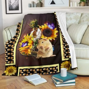 Guinea pig dark sunflower blanket@_shoesnp_dt_10_Guinea_pig_dark_sunflower_blanket@premium-blanket Guinea Pig Dark Sunflower Blanket Fleece Blanket, Personalized Gifts, Custom Blanket 595306