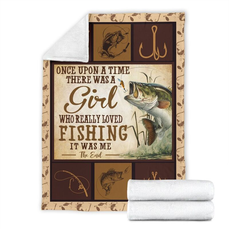 ONCE UPON A TIME THERE WAS A GIRL - FISHING@_animallovepro_dsfdf@premium-blanket Once Upon A Time There Was A Girl - Fishing Fleece Blanket, Personalized Gifts, Custom Blanket 595274