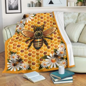 Bee Hive Flower BLANKET - NAL@_animallovepro_beehivebl621@premium-blanket Bee Hive Flower Blanket - Nal Fleece Blanket, Personalized Gifts, Custom Blanket 595124