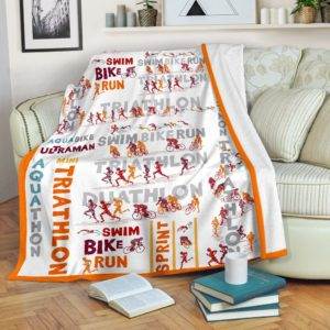 Triathlon - Swim Bike Run Blanket SKY@_summerlifepro_triathlo98349@premium-blanket Triathlon - Swim Bike Run Blanket Sky Fleece Blanket, Personalized Gifts, Custom Blanket 594994