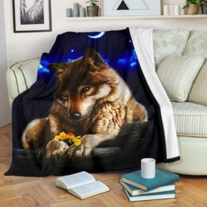 Wolf with sunflower in winter night blanket@_shoesnp_dt_d_Wolf_with_sunflower_in_winter_night_blanket@premium-blanket Wolf With Sunflower In Winter Night Blanket Fleece Blanket, Personalized Gifts, Custom Blanket 594955