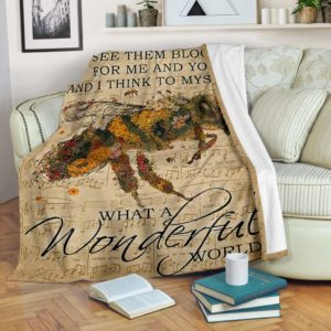 Bee - What a wonderful world Blanket NAL@_animallovepro_Bee243@premium-blanket Bee - What A Wonderful World Blanket Nal Fleece Blanket, Personalized Gifts, Custom Blanket 594760