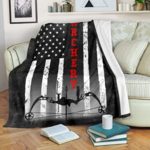 ARCHERY AMERICAN FLAG BLACK BLANKET@_summerlifepro_ARCHERY5454@premium-blanket Archery American Flag Black Blanket Fleece Blanket, Personalized Gifts, Custom Blanket 594747