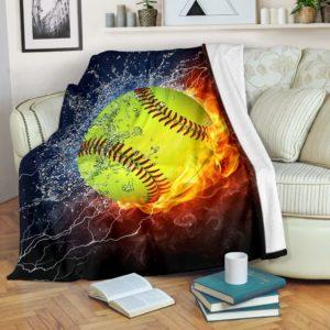 Softball - Fire Art Blanket@_summerlifepro_gjghjg@premium-blanket Softball - Fire Art Blanket Fleece Blanket, Personalized Gifts, Custom Blanket 594552