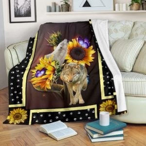 nega wolf dark sunflower blanket@_shoesnp_dt_10_nega_wolf_dark_sunflower_blanket@premium-blanket Nega Wolf Dark Sunflower Blanket Fleece Blanket, Personalized Gifts, Custom Blanket 594136