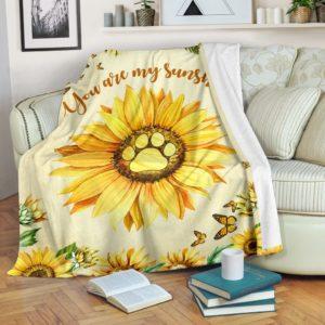 dog paw sunflower butterfly watercolor blanket_TTA@_animallovepro_dog3264552g@premium-blanket Dog Paw Sunflower Butterfly Watercolor Blanket_Tta Fleece Blanket, Personalized Gifts, Custom Blanket 593771