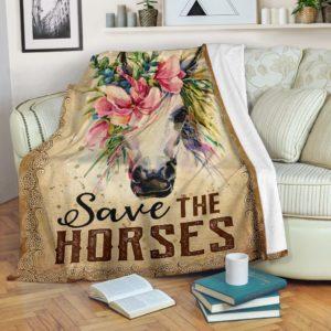Horse Flower Art - Save the Horses Blanket@_animallovepro_vnbnjghj@premium-blanket Horse Flower Art - Save The Horses Blanket Fleece Blanket, Personalized Gifts, Custom Blanket 593459