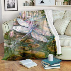 dragonfly on flower blanket@_animallovepro_dragonfly123@premium-blanket Dragonfly On Flower Blanket Fleece Blanket, Personalized Gifts, Custom Blanket 593174