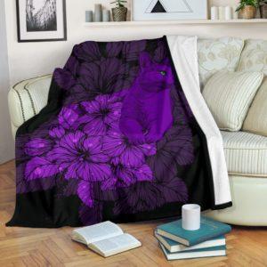 cat hibiscus flower pattern blanket@_shoesnp_lt_7_cat_hibiscus_flower_pattern_blanket@premium-blanket Cat Hibiscus Flower Pattern Blanket Fleece Blanket, Personalized Gifts, Custom Blanket 592953