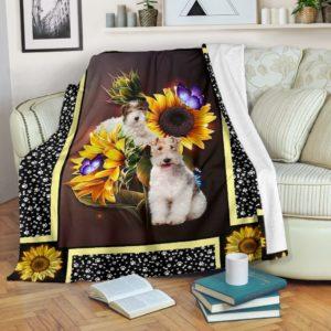 Fox terrier dark sunflower blanket@_shoesnp_dt_10_Fox_terrier_dark_sunflower_blanket@premium-blanket Fox Terrier Dark Sunflower Blanket Fleece Blanket, Personalized Gifts, Custom Blanket 592862