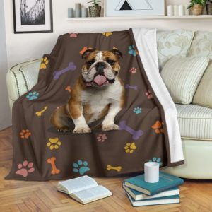 Bulldog brown blanket and color decor@_shoesnp_dt_3_Bulldog_brown_blanket_and_color_decor@premium-blanket Bulldog Brown Blanket And Color Decor Fleece Blanket, Personalized Gifts, Custom Blanket 592849