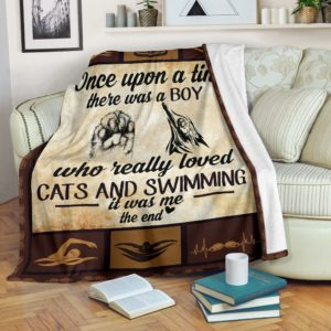 Once upon a time - cats and swimming@_summerlifepro_Oncec1212c@premium-blanket Once Upon A Time - Cats And Swimming Fleece Blanket, Personalized Gifts, Custom Blanket 592693